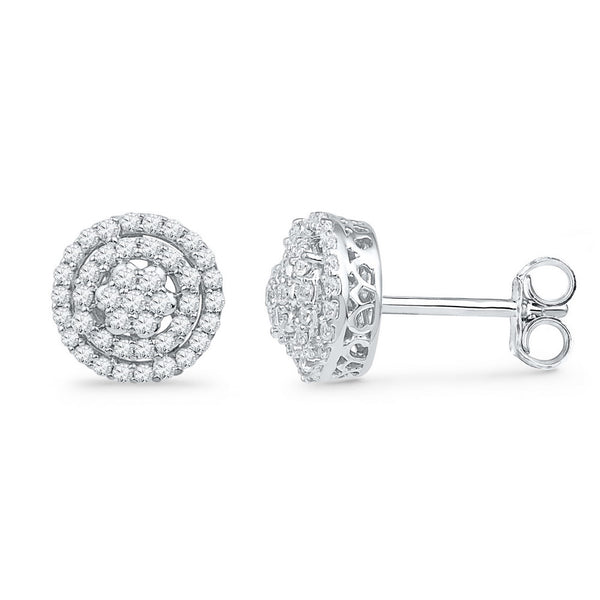 10kt White Gold Womens Round Diamond Concentric Cluster Screwback Earrings 1/2 Cttw