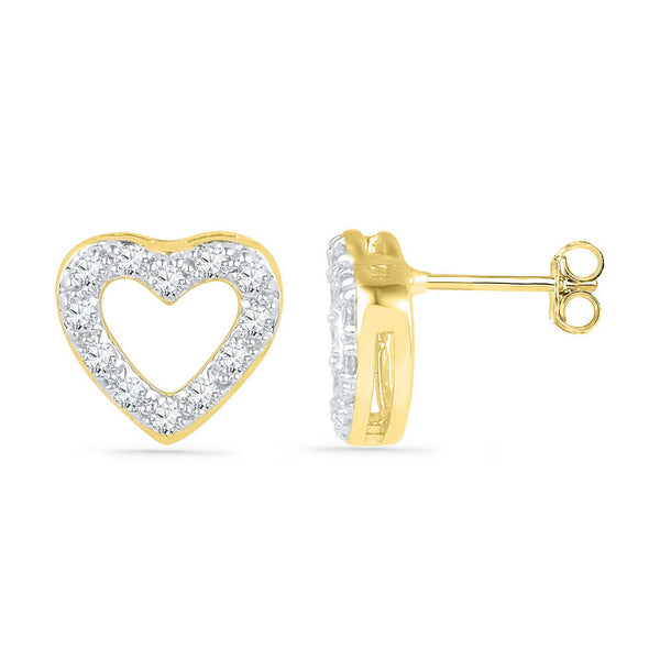 10kt Yellow Gold Womens Round Diamond Heart Outline Screwback Earrings 1/8 Cttw