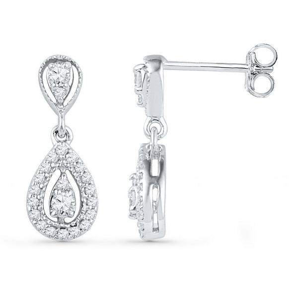 10kt White Gold Womens Round Diamond Teardrop Dangle Screwback Earrings 1/3 Cttw