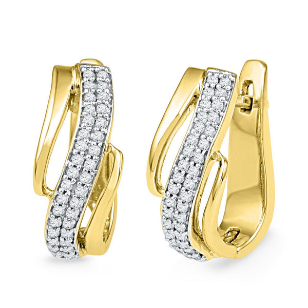 10kt Yellow Gold Womens Round Diamond Diagonal Double Row Hoop Earrings 1/4 Cttw