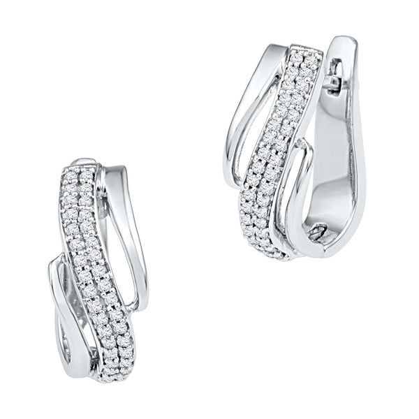 10kt White Gold Womens Round Diamond Diagonal Double Row Hoop Earrings 1/4 Cttw