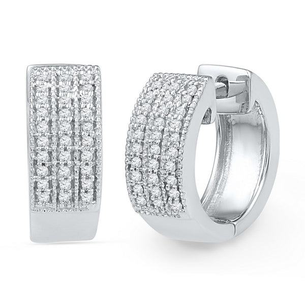 10kt White Gold Womens Round Diamond Huggie Hoop Earrings 1/4 Cttw