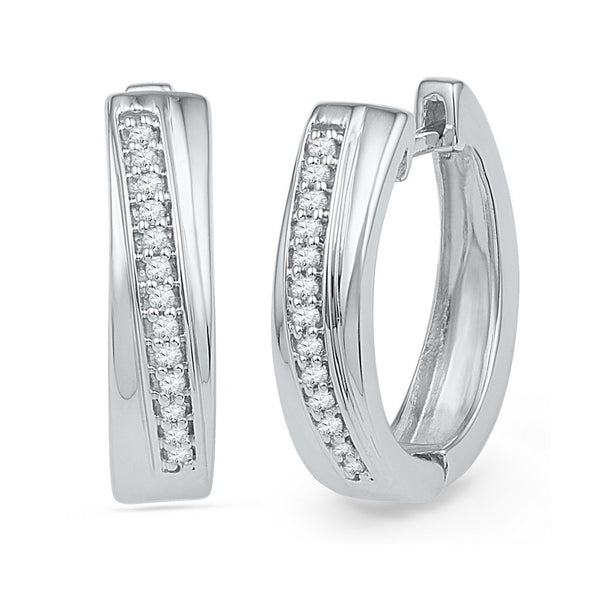 10kt White Gold Womens Round Diamond Single Row Huggie Hoop Earrings 1/6 Cttw