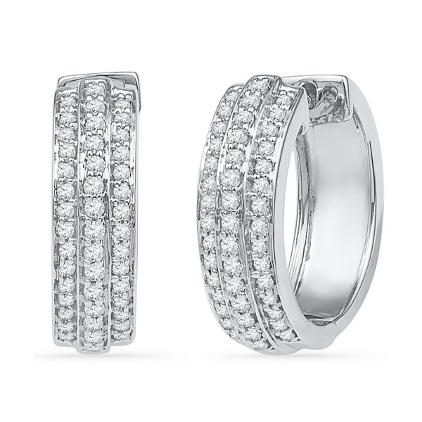 10kt White Gold Womens Round Diamond Huggie Earrings 1/2 Cttw