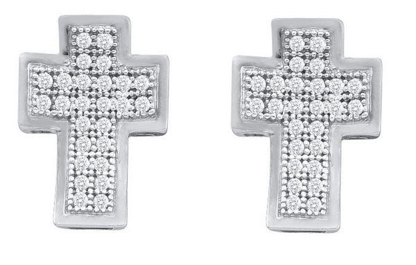 10kt White Gold Womens Round Diamond Concave Cross Screwback Stud Earrings 1/10 Cttw