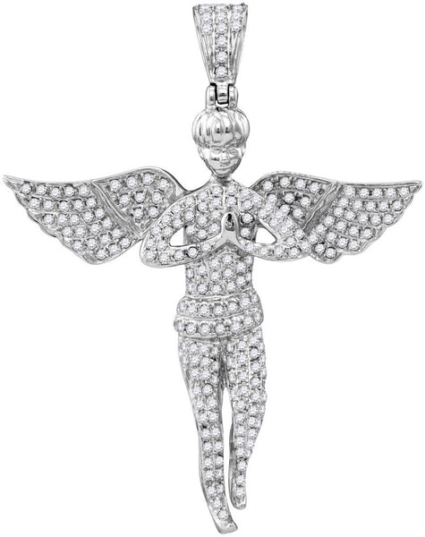 10kt White Gold Mens Round Diamond Angel Wings Faith Charm Pendant 1.00 Cttw