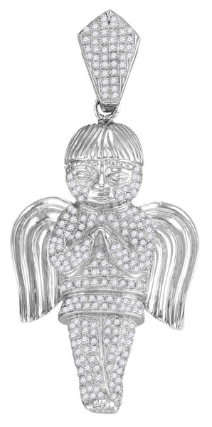 10kt White Gold Mens Round Diamond Praying Angel Faith Charm Pendant 1-3/4 Cttw