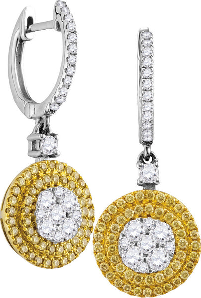 18kt White Gold Womens Round Yellow Diamond Circle Frame Cluster Dangle Earrings 1.00 Cttw