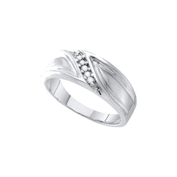 10kt White Gold Mens Round Diamond Band Wedding Anniversary Ring 1/10 Cttw