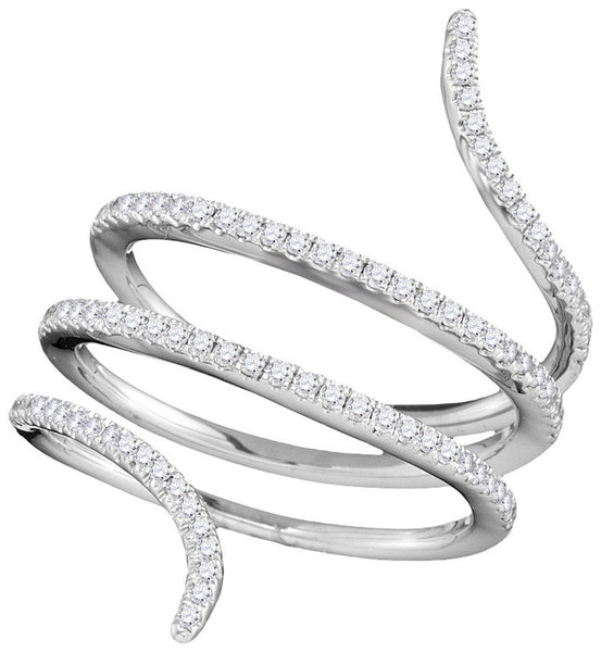 18kt White Gold Womens Round Diamond Serpent Wrap Band Ring 3/8 Cttw