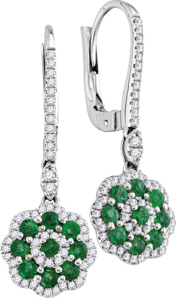 18kt White Gold Womens Round Emerald Cluster Diamond Frame Dangle Earrings 1.00 Cttw