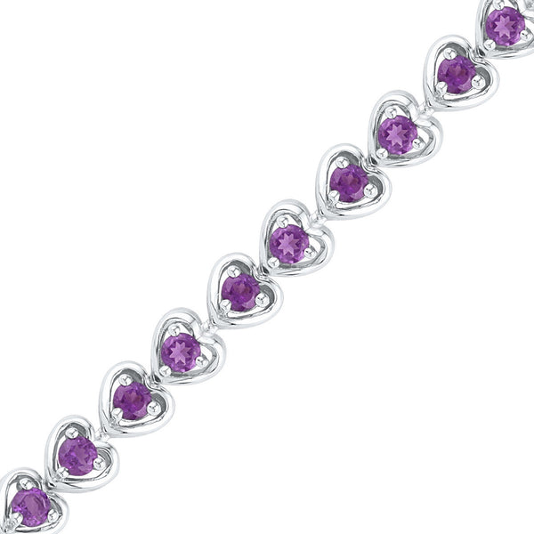 Sterling Silver Womens Round Lab-Created Amethyst Tennis Bracelet 3-5/8 Cttw