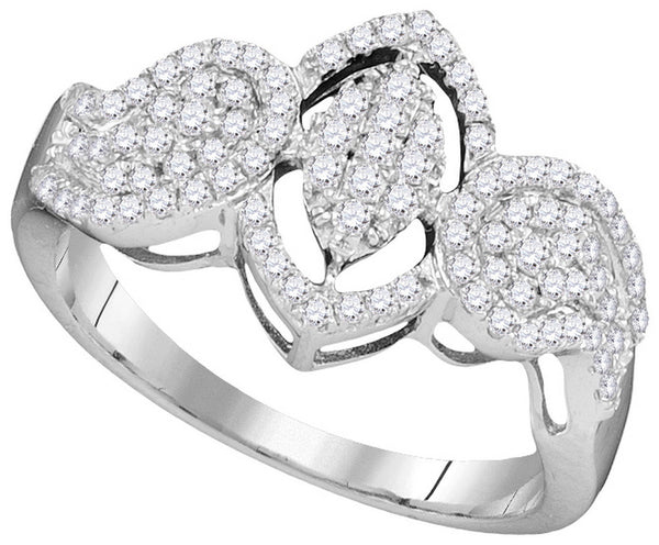 10kt White Gold Womens Round Diamond Oval Frame Cluster Ring 3/8 Cttw