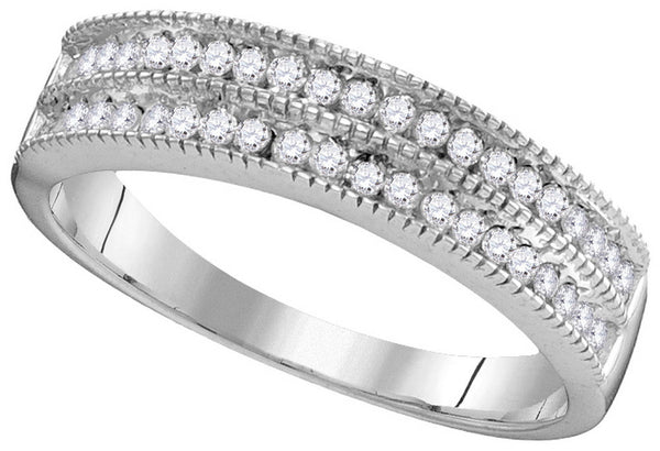 10kt White Gold Womens Round Channel-set Diamond Double Row Milgrain Band 1/2 Cttw