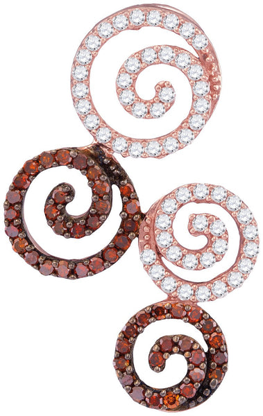 10kt Rose Gold Womens Round Red Colored Diamond Swirl Circle Pendant 5/8 Cttw