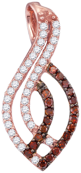 10kt Rose Gold Womens Round Red Colored Diamond Oval Strand Pendant 1/3 Cttw
