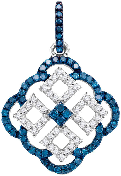 10kt White Gold Womens Round Blue Colored Diamond Square Cluster Pendant 1/2 Cttw
