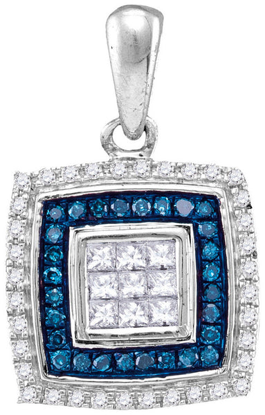 10kt White Gold Womens Round Blue Colored Diamond Square Frame Pendant 1/3 Cttw