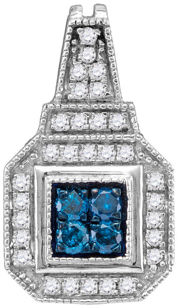 10kt White Gold Womens Round Blue Colored Diamond Square Cluster Pendant 1/3 Cttw