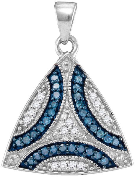 10kt White Gold Womens Round Blue Colored Diamond Triangle Cluster Pendant 1/3 Cttw