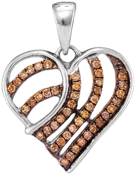 10kt White Gold Womens Round Cognac-brown Colored Diamond Striped Heart Pendant 1/4 Cttw