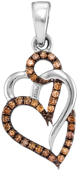 10kt White Gold Womens Round Cognac-brown Colored Diamond Triple Heart Pendant 1/4 Cttw