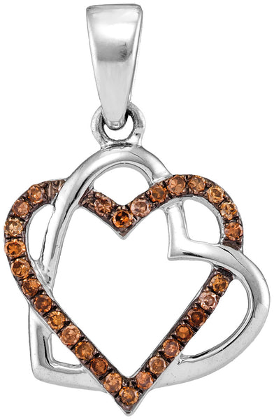 10kt White Gold Womens Round Cognac-brown Colored Diamond Heart Love Pendant 1/4 Cttw