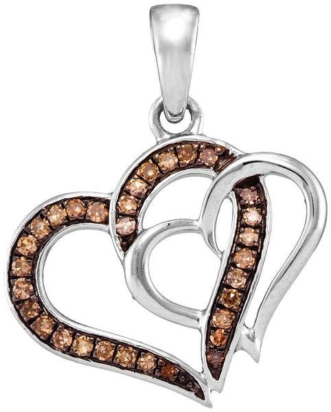 10kt White Gold Womens Round Cognac-brown Colored Diamond Double Linked Heart Pendant 1/4 Cttw