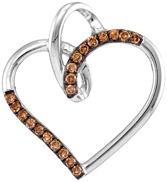 10kt White Gold Womens Round Cognac-brown Colored Diamond Heart Love Pendant 1/6 Cttw