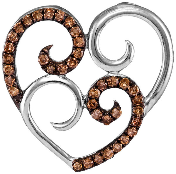 10kt White Gold Womens Round Cognac-brown Colored Diamond Curled Double Heart Pendant 1/4 Cttw