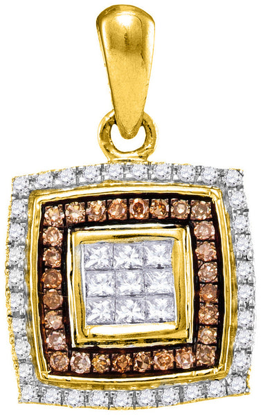 10kt Yellow Gold Womens Round Cognac-brown Colored Diamond Square Pendant 1/3 Cttw