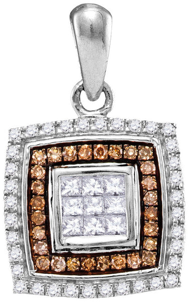 10kt White Gold Womens Round Cognac-brown Colored Diamond Square Pendant 1/3 Cttw