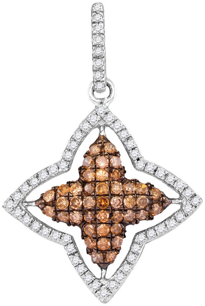 10kt White Gold Womens Round Cognac-brown Colored Diamond Star Frame Pendant 1/2 Cttw