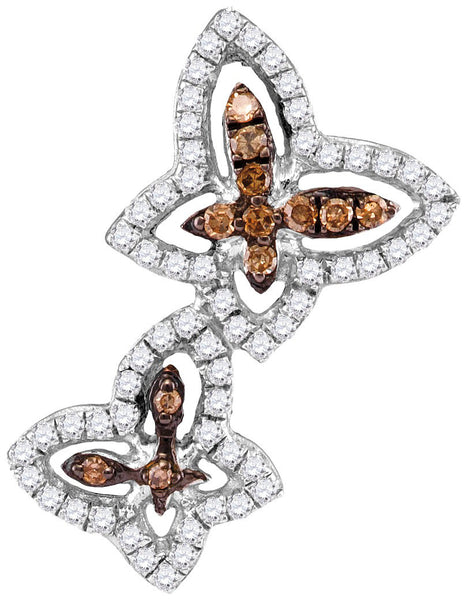 10kt White Gold Womens Round Cognac-brown Colored Diamond Double Butterfly Bug Pendant 1/3 Cttw