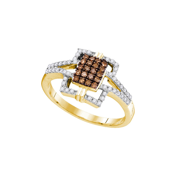 10kt Yellow Gold Womens Round Cognac-brown Colored Diamond Square Ring 1/3 Cttw