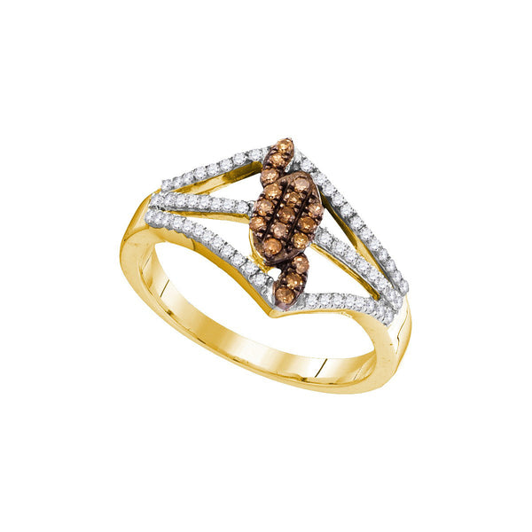 10kt Yellow Gold Womens Round Cognac-brown Colored Diamond Cluster Openwork Strand Ring 1/3 Cttw