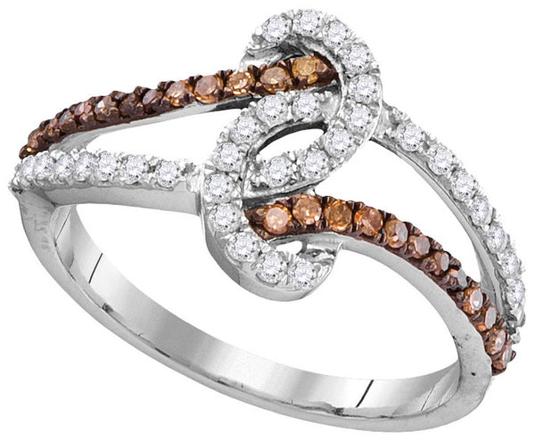 10kt White Gold Womens Round Cognac-brown Colored Diamond Band Ring 1/2 Cttw