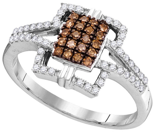 10kt White Gold Womens Round Cognac-brown Colored Diamond Square Ring 1/3 Cttw