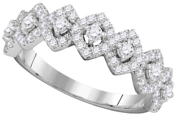 14kt White Gold Womens Round Diamond Diagonal Square Single Row Band 1.00 Cttw