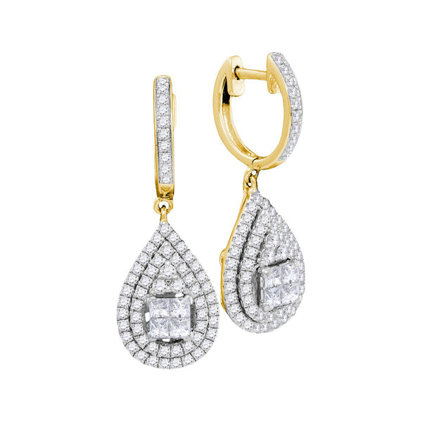 14kt Yellow Gold Womens Princess Round Diamond Teardrop Frame Cluster Earrings 1-1/10 Cttw