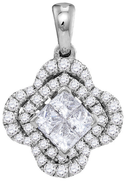 14kt White Gold Womens Princess Diamond Cluster Pendant 3/4 Cttw