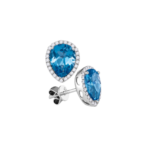 14kt White Gold Womens Pear Blue Topaz Solitaire Diamond Frame Stud Earrings 1-3/4 Cttw