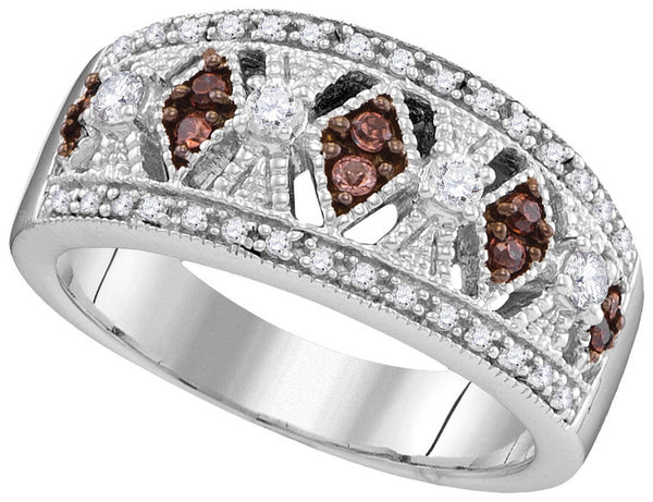 10kt White Gold Womens Round Cognac-brown Colored Diamond Milgrain Symmetrical Band Ring 1/3 Cttw
