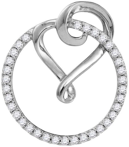 10kt White Gold Womens Round Diamond Circle Heart Love Pendant 1/3 Cttw