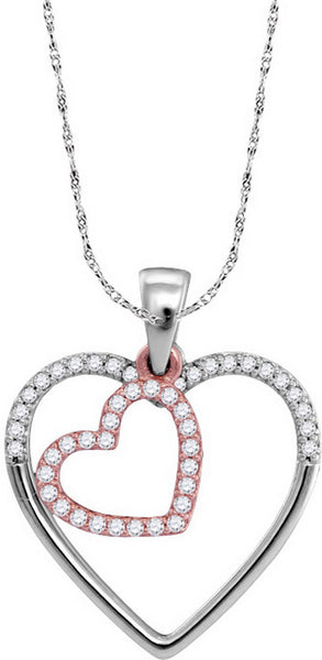 10kt Two-tone Rose Gold Womens Round Diamond Heart Love Pendant 1/5 Cttw