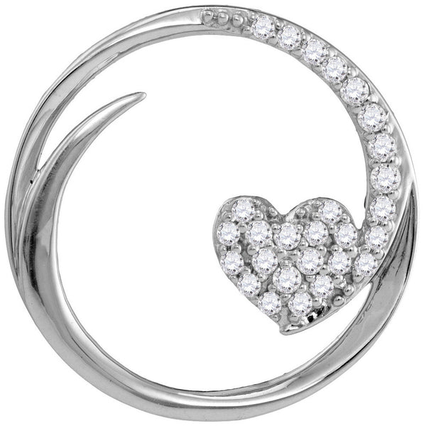 10kt White Gold Womens Round Diamond Heart Love Circle Pendant 1/4 Cttw