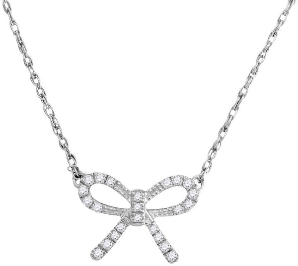 10kt White Gold Womens Round Diamond Knot Bow Pendant Necklace 1/10 Cttw
