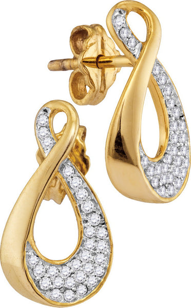 10kt Yellow Gold Womens Round Diamond Teardrop Cluster Earrings 1/5 Cttw