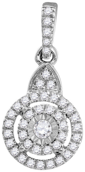 10kt White Gold Womens Round Diamond Cluster Pendant 1/5 Cttw