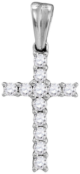 10kt White Gold Womens Round Diamond Cross Faith Pendant 1/4 Cttw